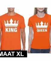 Koppel shirts koningsdag king queen oranje dames en heren maat xl kopen