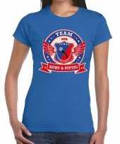 Kort en pittig team t-shirt blauw dames kopen