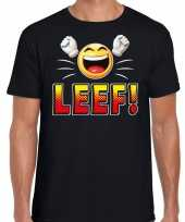 Leef fun emoticon shirt heren zwart kopen