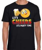 Lets cheers it is partytime fun emoticon shirt heren zwart kopen