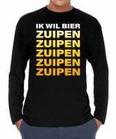Long sleeve t-shirt zwart met ik wil bier zuipen zuipen zuipen bedrukking voor heren kopen