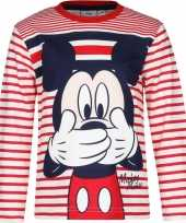 Mickey mouse shirt lange mouw rood wit voor jongens kopen
