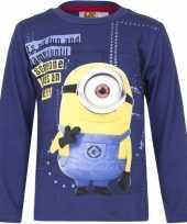 Minions shirt lange mouw blauw voor jongens kopen