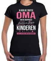 Oma is trots op kinderen fun kado shirt zwart voor dames kopen