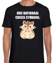 Ons nationaal crisis symbool hamster coronavirus t-shirt zwart voor heren kopen