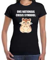 Ons nationaal crisis symbool hamster hamsteren coronavirus t-shirt zwart voor dames kopen
