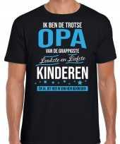Opa is trots op kinderen fun kado shirt zwart voor heren kopen