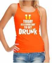 Oranje good day to get drunk bier tanktop mouwloos koningsdag t-shirt voor dames kopen