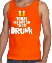 Oranje good day to get drunk bier tanktop mouwloos koningsdag t-shirt voor heren kopen