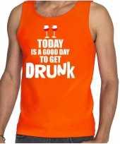 Oranje good day to get drunk wijn tanktop mouwloos koningsdag t-shirt voor heren kopen
