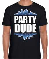 Party dude fun tekst feest disco t-shirt zwart voor heren kopen