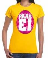 Pasen shirt geel met roze paasei voor dames kopen