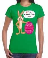 Pasen shirt groen ei wil always love you voor dames kopen