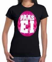 Pasen shirt zwart met roze paasei voor dames kopen