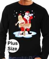 Plus size foute kerstborrel trui kersttrui best christmas party ever zwart voor heren kopen