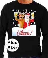 Plus size foute kerstborrel trui kersttrui proostende kerstman en rudolf zwart voor heren kopen