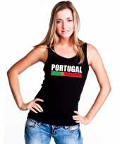 Portugal supporter mouwloos shirt tanktop zwart dames kopen