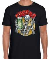 Proostend skelet horror shirt zwart voor heren kopen