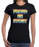 Proud en stout gaypride tekst fun shirt zwart dames kopen