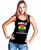 Regenboog emoticon smile if you are gay mouwloos shirt tanktop zwart dames kopen