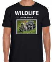 Ringstaart maki foto t-shirt zwart voor heren wildlife of the world cadeau shirt apen liefhebber kopen