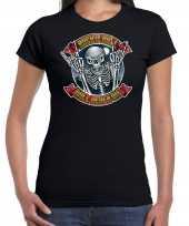 Rock en roll skelet horror shirt zwart voor dames kopen