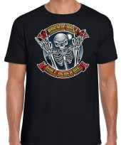 Rock en roll skelet horror shirt zwart voor heren kopen