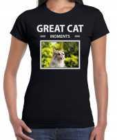 Rode kat foto t-shirt zwart voor dames great cat moments cadeau shirt katten liefhebber kopen