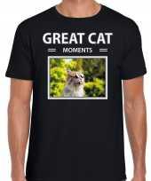 Rode kat foto t-shirt zwart voor heren great cat moments cadeau shirt katten liefhebber kopen