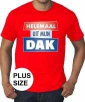 Rood plussize t-shirt voor heren met tekst helemaal uit mijn dak kopen