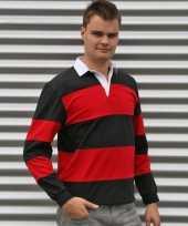 Rugby shirts zwart met rood kopen