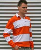 Rugbyshirt oranje wit heren kopen