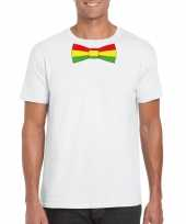 Shirt met rood geel groene limburg strik wit heren kopen