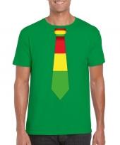 Shirt met rood geel groene limburg stropdas groen heren kopen