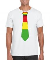 Shirt met rood geel groene limburg stropdas wit heren kopen