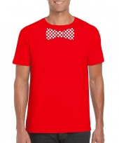 Shirt met rood witte brabant strik rood heren kopen