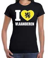 Shirt met tekst i love vlaanderen zwart dames kopen