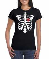 Skelet halloween t-shirt zwart voor dames kopen