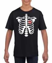 Skelet halloween t-shirt zwart voor jongens en meisjes kopen