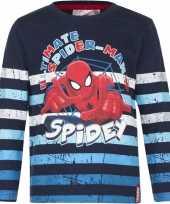 Spiderman shirt lange mouw blauw gestreept voor jongens kopen