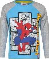Spiderman shirt lange mouw blauw grijs voor jongens kopen