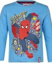 Spiderman shirt lange mouw blauw voor jongens kopen 10076448