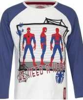 Spiderman shirt lange mouw wit blauw voor jongens kopen
