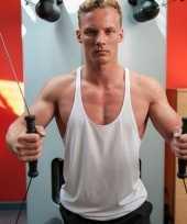 Sportkleding haltershirt voor mannen wit kopen