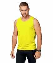 Sportkleding sneldrogend fluor gele singlet voor heren kopen