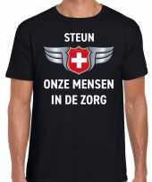Steun onze mensen in de zorg zilveren schild shirt zwart voor heren kopen