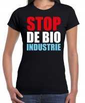 Stop de bio industrie protest betoging shirt zwart voor dames kopen