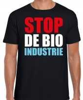 Stop de bio industrie protest betoging shirt zwart voor heren kopen