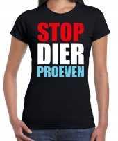 Stop dier proeven protest betoging shirt zwart voor dames kopen