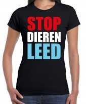 Stop dieren leed protest betoging shirt zwart voor dames kopen